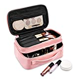 Makeup Bag, Viridian Mist Travel Organizer with Brush Holder, Portable Multifunctional Cosmetic Bag for Women Girls, Zipper Pouch, 2 Layer, Shiny Pink (Pink)
