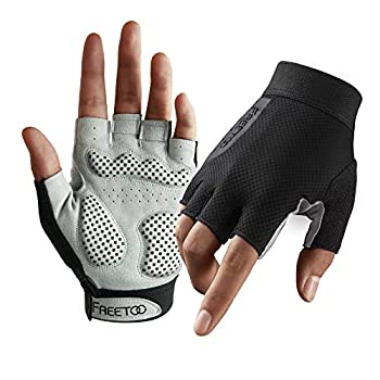 FREETOO Weight Lifting Workout Gloves for Women Well-Padded Palm & Stretchy Netted Back Comfortable Rubber Grip Gym Gloves Breathable and Lightweight Exercise Bodybuilding Gloves  Female -M