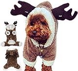 Yanyu Capa Perro Ropa Navidad Jerseys Reno Lindo Ciervos Elk Animal doméstico diseño Perrito del Traje Mono Outwear Apparel Camiseta Yorkshire Terrier, Peluche, Chihuahua, Pomerania, etc XL,XL