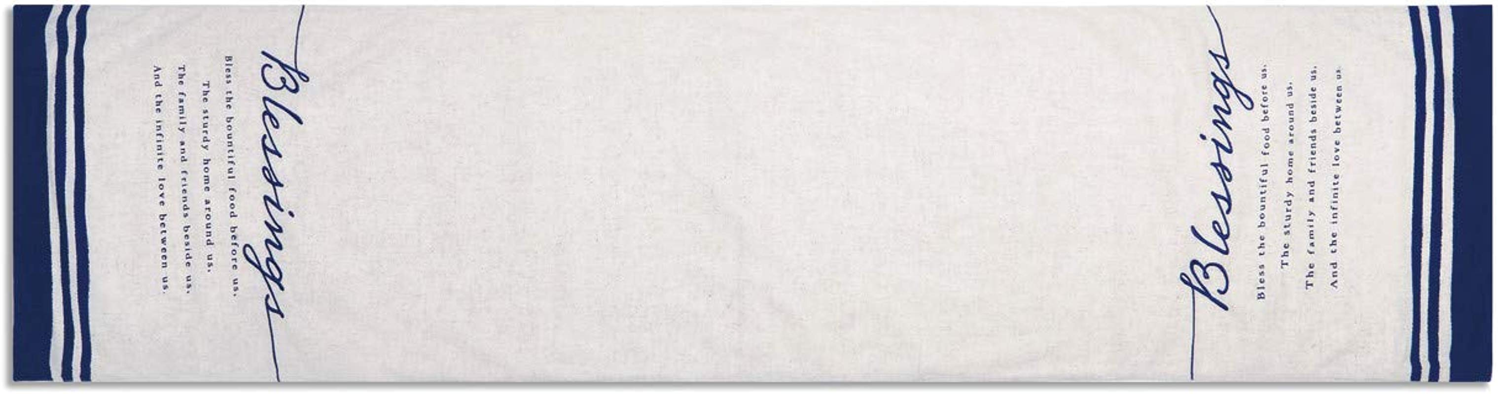 Blessings Bountiful Indigo Blue 72 X 16 Cotton And Linen Fabric Table Runner