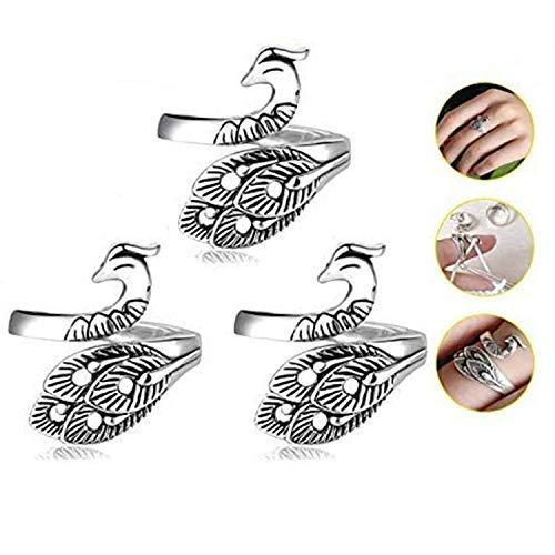 Anillo de plata vintage con diseño de pavo real, ajustable, anillo de ganchillo, guía de hilado