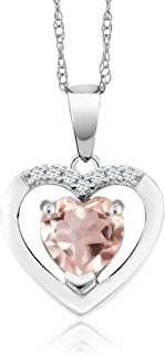 10K White Gold Rose Quartz and Diamond Heart Pendant Necklace, 0.75 Cttw with 18 Inch Chain