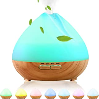 INNÔPLUS Essential Oils Diffuser, 400ml Ultrasonic Aroma Humidifier with 7 Color Lights | Aromatherapy diffusers Auto Waterless Shut-Off | 3 Timer Cool Mist Diffuser | BPA-Free Air Humidifier