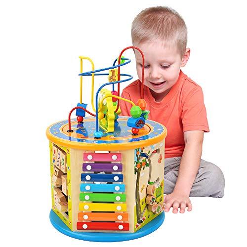 Elover Cubo di attività Giochi Legno Bambini 8 in 1 Cubo da Gioco Labirinto di Perle Giocattolo Educativi Bambini Regali di Natale Compleanno