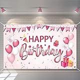 Decoración de Fiesta de Cumpleaños,Banner de fondo cumpleaños,Pancarta Feliz Cumpleaños,para Fotografia Party Photo Studio Props Photo Booth (Rosa)