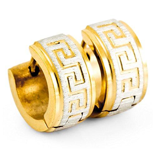 MunkiMix Acero Inoxidable Semental Aro Hoop Huggie Pendientes Plata Oro Dorado Dos Tono Griego