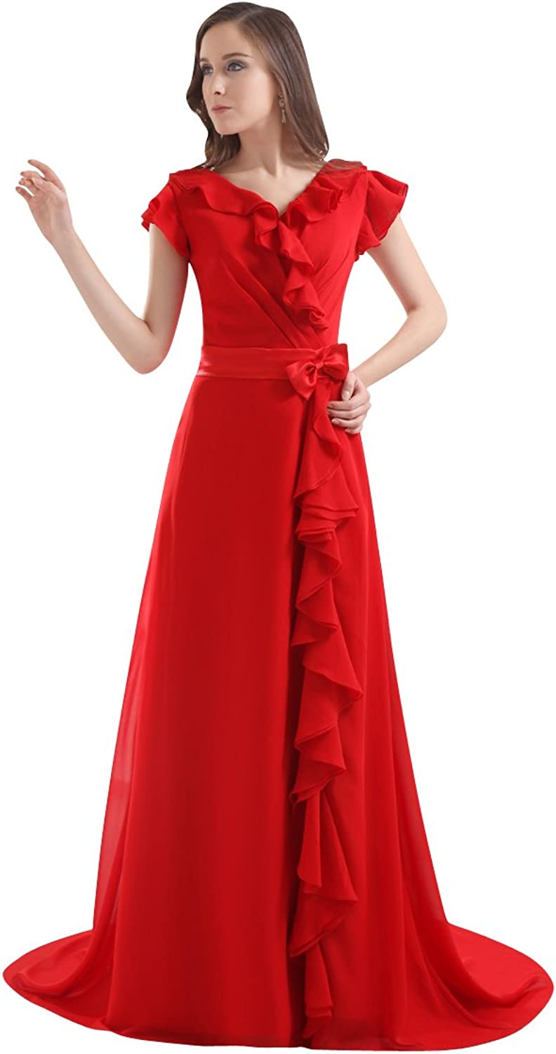 Vampal Red V Neck Bow Detail Embellished Prom Dress With Cascading Ruffle Skirt