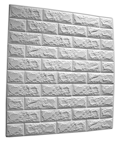 SOOMJ 【1枚 厚い】防音シート レンガ 壁紙 インテリア シール 70cm×77cm ブリックステッカー 軽量レンガシール 壁紙シール アクセントクロス ウォールシール はがせる 壁シール (ホワイト)