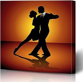 Ahawoso Canvas Prints Wall Art Printing 8x8 Dance Man Woman Dancing Tango People Party Ballroom Dancer Elegant Silhouette Black Female Male Painting Artwork Home Living Room Office Bedroom Dorm