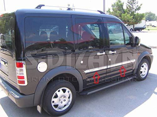 Para Transit Tourneo Connect 2002 – 2014 - Protector de moldura de acero inoxidable cromado para puerta lateral, 4 unidades