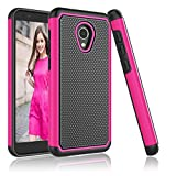 Alcatel TCL LX A502DL Case, Alcatel IdealXtra 5059R Case, Alcatel 1X Evolve Case, Njjex [Nveins] Impact Hybrid Dual Layers Hard Back + Soft Silicone Rubber Armor Defender Slim Phone Cover [Rose Red]