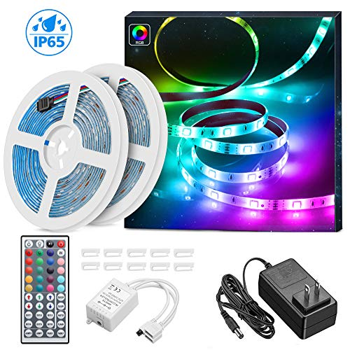 LED Strip Lights 32.8ft, MINGER Waterproof RGB LED Light Strip 300 LEDs Color Changing LED Lights with 44 Key IR Remote Control Ideal for Room, Home, Kitchen, Party, Christmas, 2x16.4ft