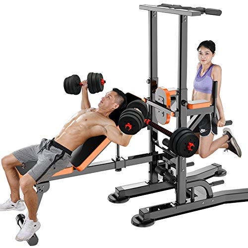ZYQDRZ Heavy-Duty Gym Power Tower, Height-Adjustable Multifunctional Fitness Training Equipment, Suitable for Gymnastics