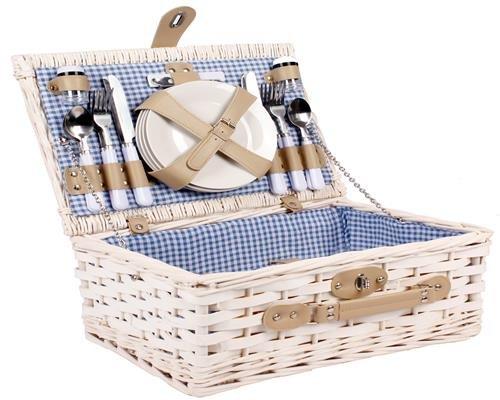 4 Personen Weiden Picknickkorb Picknickkoffer Set mit Besteck, Weingläsern, Tellern Etc