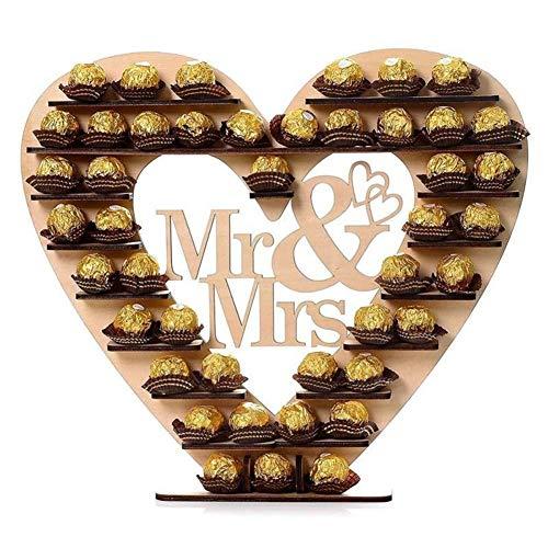 NeeyBing - Espositore in legno per cioccolatini, personalizzabile con scritta 'Mr & Mrs' a forma di cuore, per cioccolatini e dolci, decorazione per matrimoni, centrotavola, 31 x 32 cm