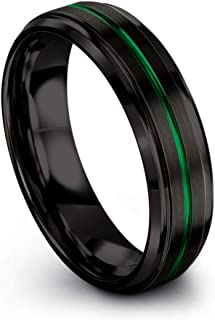 Tungsten Carbide Wedding Band Ring 6mm for Men Women Green Red Fuchsia Copper Teal Blue Purple Black Center Line Step Bevel Edge Black Brushed Polished