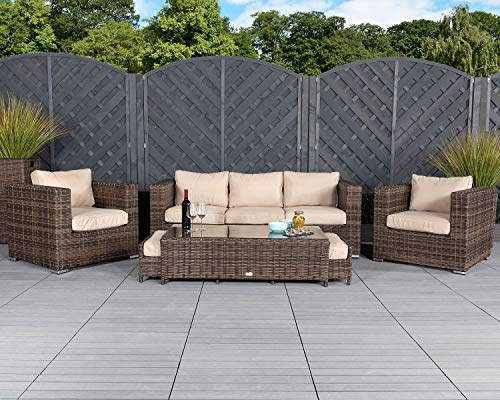 Patio Conversation Sets Outdoor Sectional Sofa No Assembly Alumimum Outdoor Furniture Set Olefin Cushioned 6Pcs Brown Wicker Outdoor Couch Deck Furniture w/Free Waterproof Covers- Space Saving Design