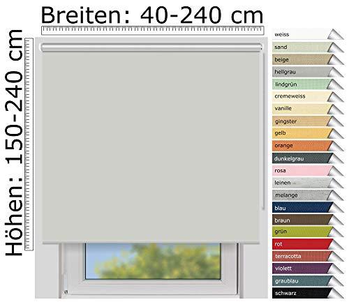 EFIXS Thermorollo Medium - 25 mm Welle - Farbe: hellgrau (054) - Größe: 130 x 240 cm (Stoffbreite x Höhe) - Hitzeschutzrollo - Verdunklungsrollo
