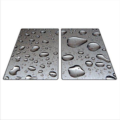 Glass Awesome - Lot de 2 plaques universelles pour protéger plaques de cuisson en verre, en céramique, à induction ou gaz - Avec 4 pieds en silicone anti-rayures - Couleurs et images HD - Dimensions : 2 x 30 x 52 cm - Thème : gouttes - Couleur : gris.