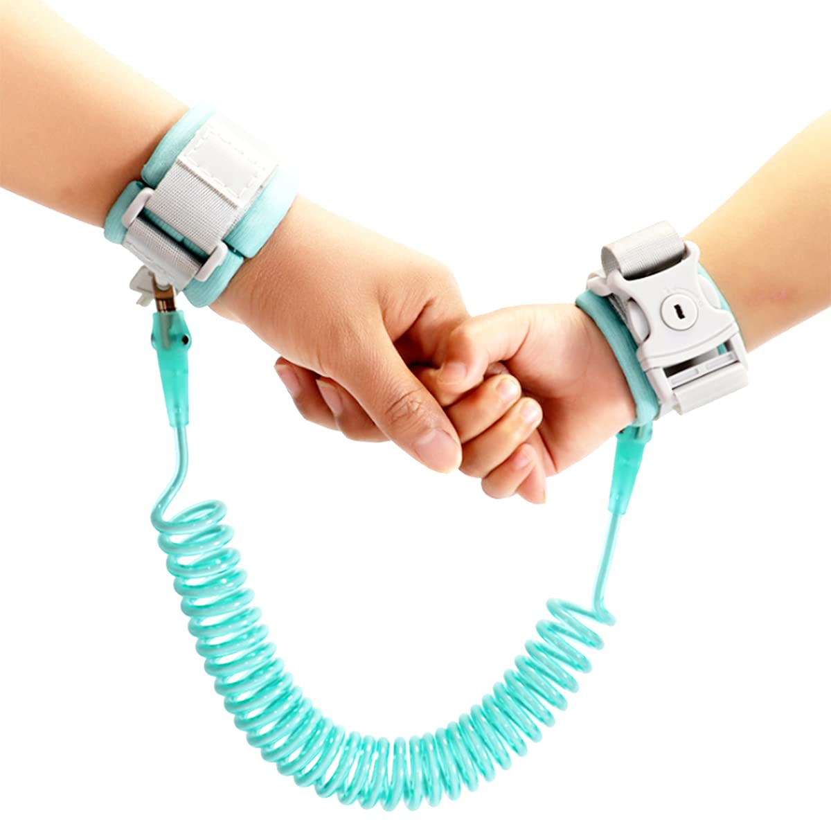Toddler Leash,Reflective Anti-Lost Wrist Link with Key Lock 2.5M / 8.2FT in Cyan for Kids Baby