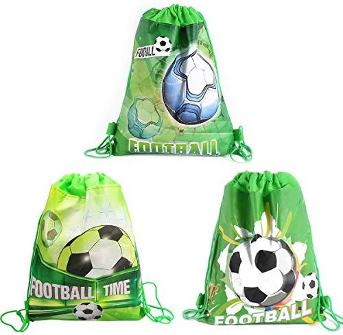 CODOHI 12er Pack Fußball Party Favor Goodie Bags, Treat Geschenk Kordelzug Fußball Rucksack Birthday Party Dekoration Lieferungen für Kinder Jungen Mädchen Birthday Party