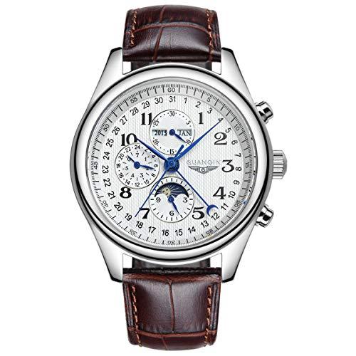 Guanqin Reloj de pulsera mecánico automático análogo de los hombres con acero inoxidable/banda de cuero fase lunar, Plateado, blanco y marrón., M, 39mm, Correa