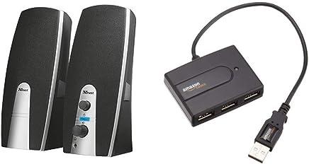 Trust Mila Set Altoparlanti 2.0, nero [vecchio modello] & AmazonBasics - Ultra Mini Hub USB 2.0 a 4 porte - Trova i prezzi più bassi
