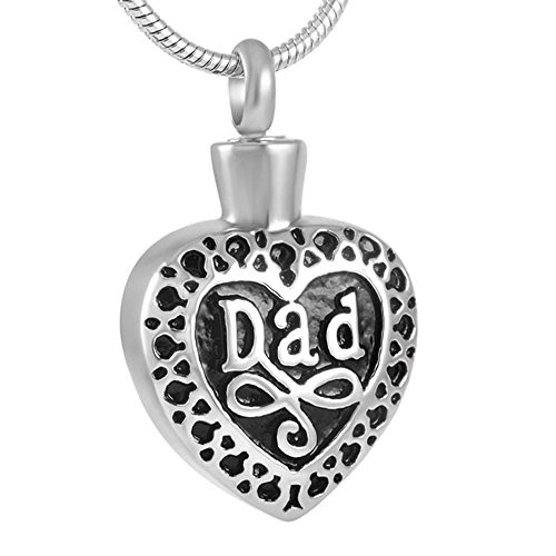 FZUNDX Vintage Papa Graviert Herz Feuerbestattung Halskette Für Menschliche Asche Inhaber Edelstahl Asche Andenken Anhänger Memorial Schmuck