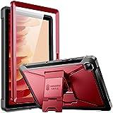 ZtotopCase Funda para Samsung Galaxy Tab A7 10.4 2020 Tableta (SM-T500/505/507), Protector de Pantalla Incorporado, Doble Capa a Prueba de Golpes con Soporte - Vino Rojo