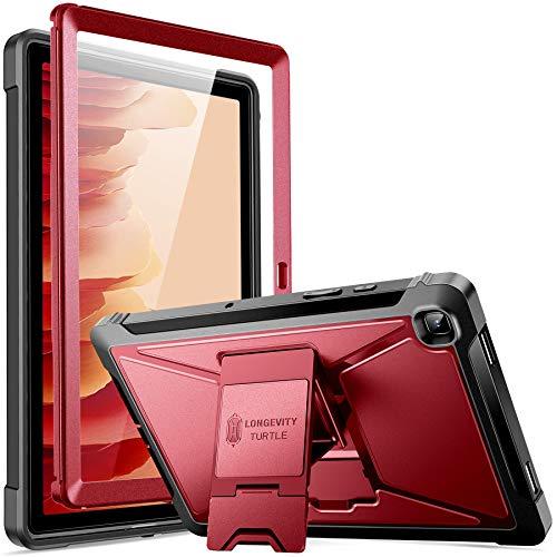 ZtotopCase Hülle für Samsung Galaxy Tab A7 10.4 Zoll 2020, Eingebaut Screen Protector, Dual Schicht Stoßfest Voll Schützend Abdeckung mit Ständer für Samsung Galaxy Tab A7 (SM-T500/505/507),Rotwein