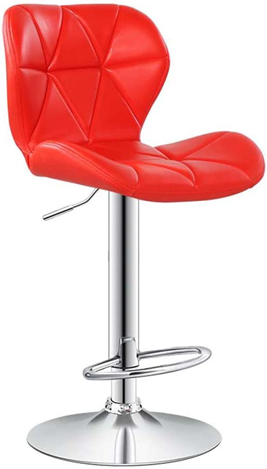 MMM- Bar Stool Chair Lift Backrest Bar Chair Stool (color   Red)