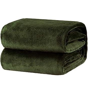Bedsure Fleece Blanket Queen Size Olive Green Lightweight Super Soft Cozy Luxury Bed Blanket Microfiber