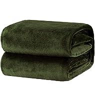Bedsure Fleece Blanket Throw Size Olive Green Lightweight Super Soft Cozy Luxury Bed Blanket Microfiber