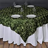 Efavormart 3D Rosette Square Tablecloth Overlay 72'x72'-Moss/Willow Square Tablecloth Cover for Wedding Party Event Banquet