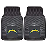 2 Piece Black NFL San Diego Chargers Car Mats 1.6' X 2.3'Ft, Football Themed Car Floor Mats for Cars Embroidered Trucks SUVs RVs Team Logo Merchandise Fan Athletics Team Spirit Fan, Vinyl