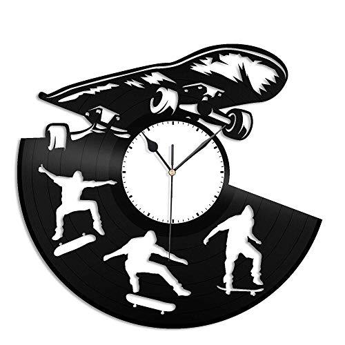 CNLSZM 3D Clock Wanduhr Aus Vinyl Schallplattenuhr Upcycling Design Uhr Wand Deko -Skateboard Vintage Familien Zimmer Dekoration Kunst 30cm-kein LED-Licht