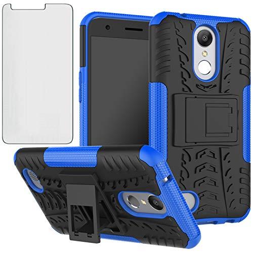 Phone Case for LG K20/K20 Plus/K20 V/Harmony/V5/K10 2017/Grace LTE with Tempered Glass Screen Protector Cover and Hybrid Cell Accessories LGK20Case LGK20Plus LGK20V K20V K 20 20K K20+ Cases Black Blue