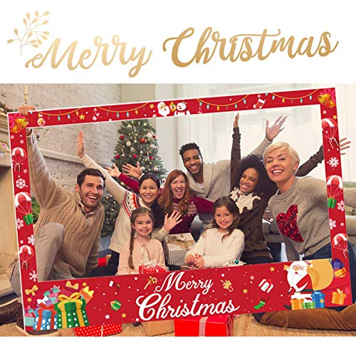 AOYOO Christmas Photo Booth Props Frame Party Supplies Xmas Holiday Winter Decorations Assembly Needed