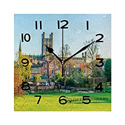 ALUONI Square Wall Clock Chester Cathedral England 8 inch Morden Wall Clocks Silent Square Decorative Clock No050713