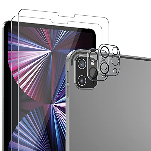 SPARIN 2 Pack Protector de Pantalla Compatible con iPad Pro 11 2021/2020 con 2 Pack Protector de Lente de Cámara, Cristal Templado Compatible con Apple Pencil y Face ID