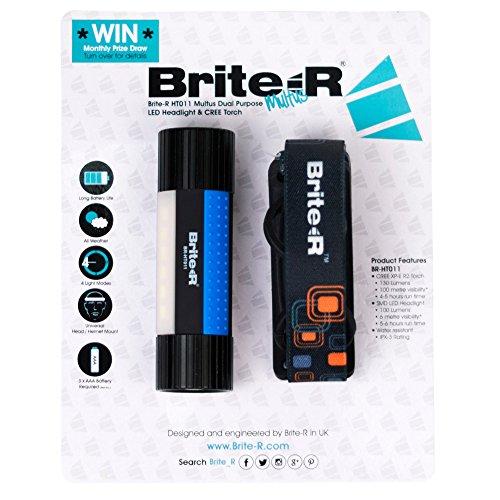 Brite-R BR-HT011BB Multus Dual Purpose CREE XP-E R2 LED koplamp en zaklamp met hoofdband, zwart/blauw