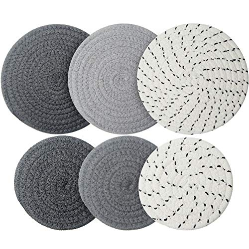 6 Pieces Pot Trivets Large Braided Woven Trivet Coaster, 7 Inch and 4.7 Inch Cotton Thread Weave Cup Coaster Hot Pot Dish Trivet Pad Mat for Kitchen Cooking Supplies (Gray, Dark Gray, White Gray)