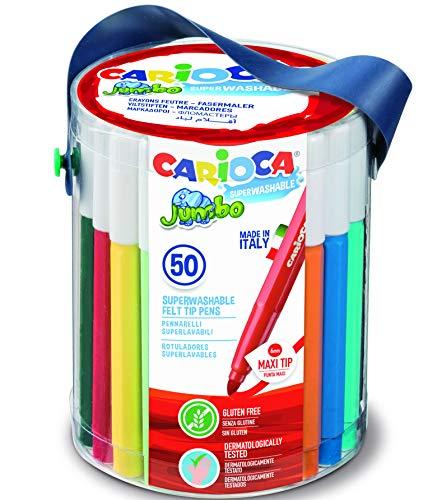 CARIOCA Jumbo | Pennarelli Lavabili per Bambini in Barattolo con Maniglia, Set Pennarelli Punta Grossa, 50 Colori