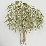 CasaJame Wanddeko Metall Gold & Grün, 3D Wandbild Baum, Wandobjekt Lebensbaum, Moderne Wanddekoration Bambus 92x88x10cm