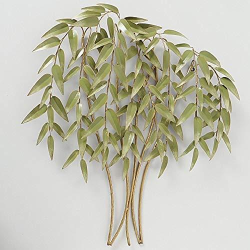 CasaJame Hogar Accesorios Interiores Vegetación Artificial Decoración Planta de Bambú en Metal para Colgar en la Pared 92x88x10cm