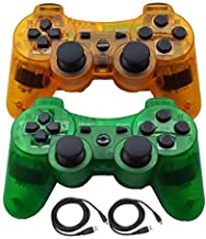 Molgegk Wireless Bluetooth Controller for PS3 Double Shock - Bundled USB Charge Cord (ClearOrange1 and CLearGreen)