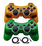 PS3 Controllers for Playstation 3 Dualshock Six-axis, Wireless Bluetooth Remote Gaming Gamepad Joystick Includes USB Cable (Green and Orange)