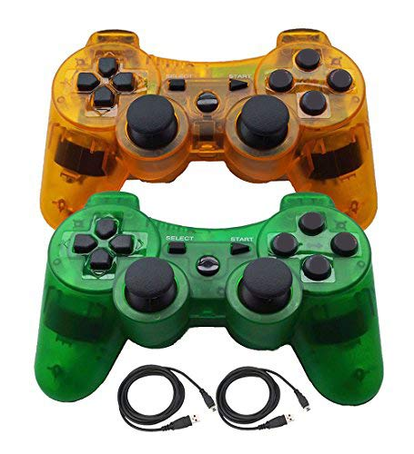 PS3 Controllers for Playstation 3 Dualshock Six-axis, Wireless Bluetooth Remote Gaming Gamepad Joystick Includes USB Cable (ClearGreen and ClearOrange)