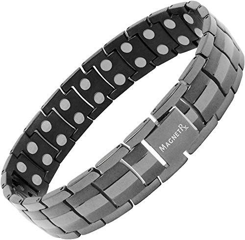 MagnetRX Ultra Strength Magnetic Therapy Bracelet - Arthritis Pain Relief and Carpal Tunnel Magnetic Bracelets for Men - Adjustable Length with Sizing Tool (Gunmetal)