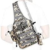 Rodeel Fishing Tackle Sling Shlouder Backpack with Fishing Rod Holder, Lure Bag, Water Resistant & Weatherproof, Large Storage, for Fly Fishing, Outdoor Sports, Camping and Hiking,ACU
